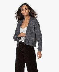 Sibin/Linnebjerg Celine Mohair Blend Single-button Cardigan - Anthracite