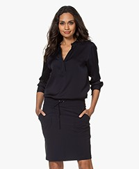 Filippa K Pull-on Zijden Splithals Blouse - Navy
