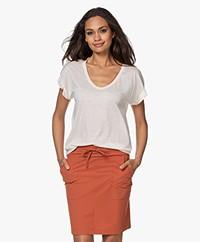 Closed Lyocell Mix U-hals T-shirt - Linen White