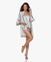 By Dariia Day Mulberry Silk Robe - Silver Grey
