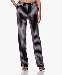 Equipment Lita Striped Silk Pants - Black/White
