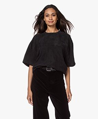 ANINE BING Teagan Cupro Blouse - Black