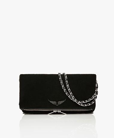 Zadig & Voltaire Rock Suede Shoulder Bag/Clutch - Black