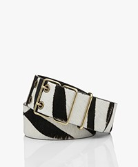ba&sh Casie Brede Leren Zebraprint Riem - Zwart/Off-white