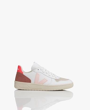 VEJA V-10 Leren Sneakers - Extra Wit/Petale/Rose Fluo