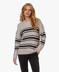 ba&sh Bosco Striped Wool Mix Sweater - Greige