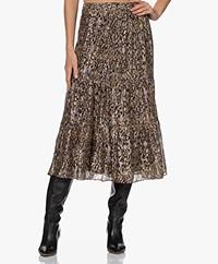 ba&sh Gellio Printed Chiffon Skirt with Lurex - Khaki