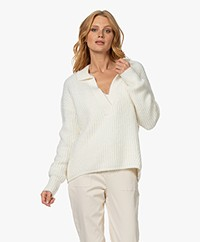 Josephine & Co Ties V-neck Sweater with Collar - Off-white
