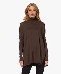 JapanTKY Tsuru Oversized Turtleneck Pullover - Dark Brown