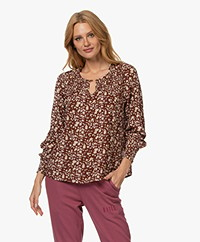 indi & cold Crinkle Viscose Blouse with Floral Print - Caoba