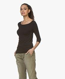 Majestic Filatures Adele T-shirt met Driekwart Mouwen - Zwart