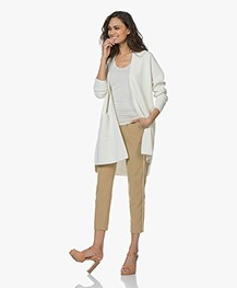 Sibin/Linnebjerg Line Open Cardigan in Merino Wool Blend - Off-white
