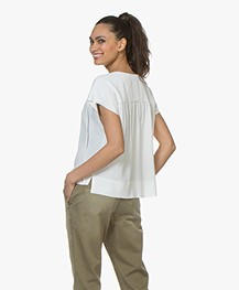 Drykorn Pazia Silk Blend Crepe Blouse Top - White