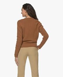 Sibin/Linnebjerg Milano Wool Blend Wrap Cardigan - Brown sugar