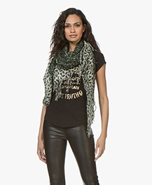 Zadig & Voltaire Noe Leo Cashmere Butterfly Print Scarf - Fougere