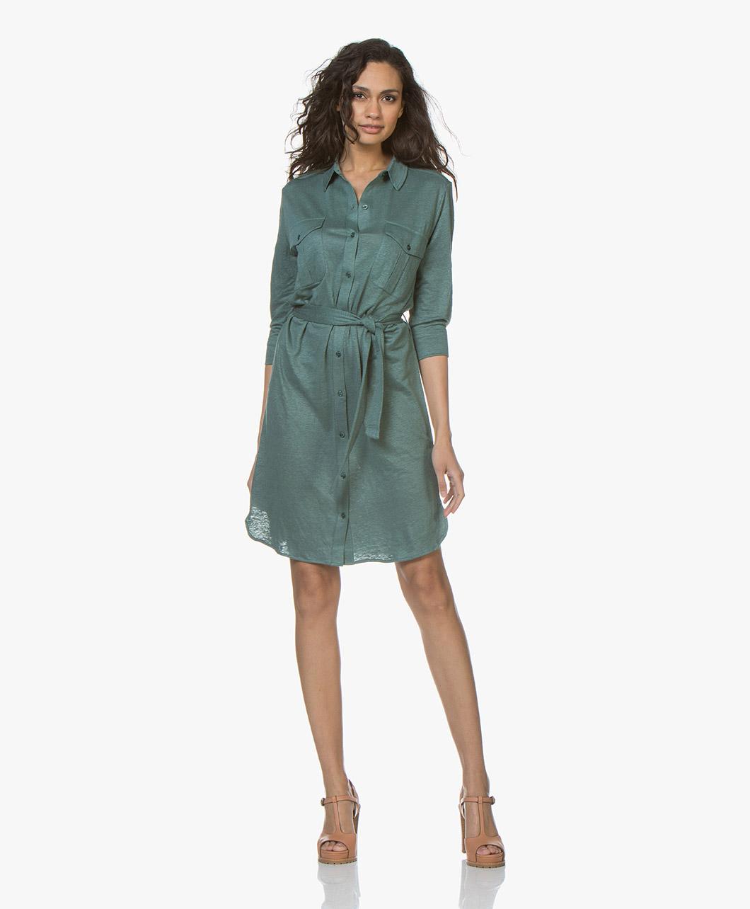 Majestic Filatures Jersey Linen Dress Shirt Dress Tuscan Green