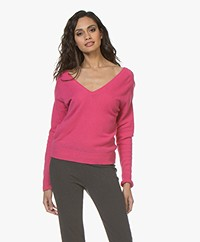 Majestic Filatures Cashmere Double V-neck Sweater - New Pink