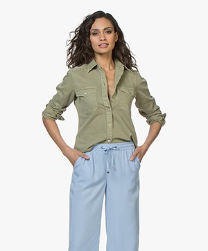 BOSS Chebu Cotton Denim Shirt - Bright Green