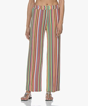 LaSalle Printed Jersey Pants with Wide Legs - Multi-color