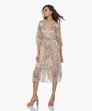 ba&sh Reese Satin Floral Print Dress - White