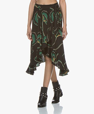 ba&sh Lena Viscose Wrap Skirt with Print - Black