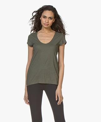 Drykorn Avivi Slub Jersey T-shirt - Dark Green