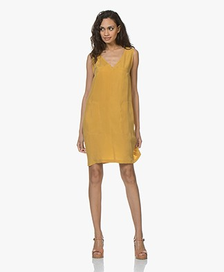 Drykorn Serina Sleeveless Cupro Tunic Dress - Yellow