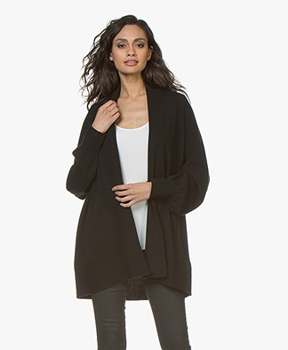 Repeat Open Cardigan with Shawl Collar from Cashmere - Black