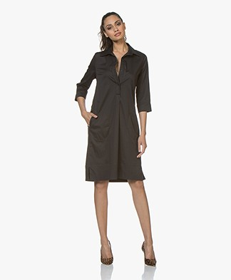 La Salle Aly Cotton Blend Shirt Dress - Black