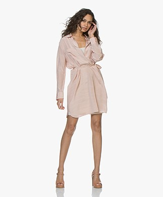 Repeat Pure Silk Striped Shirt Dress - Coral Pink
