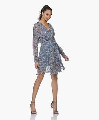 IRO Bustle Chiffon Wrap Dress with Print - Blue