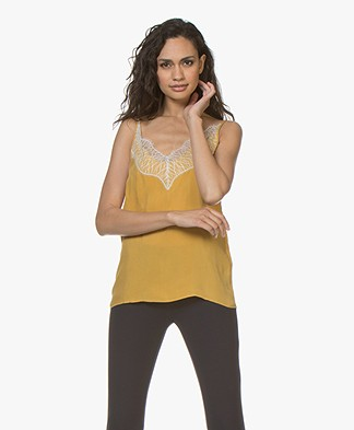 Drykorn Letitia Cupro Camisole with Lace - Yellow