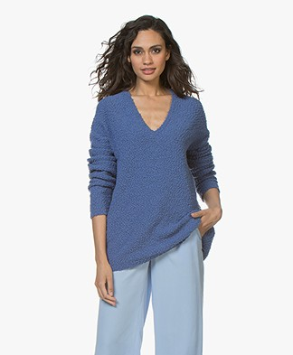 BOSS Iviola Bouclé V-neck Sweater - Bright Blue