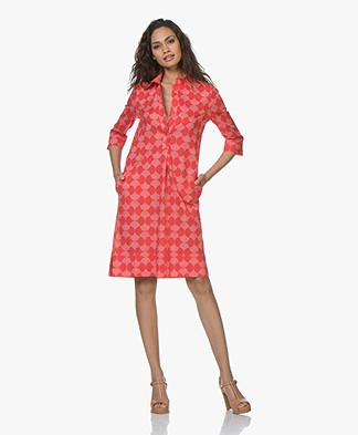 LaSalle Poplin Printed Shirt Dress - Red/Off-white