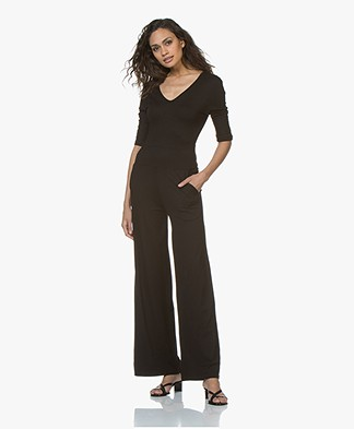 LaSalle Viscose Blend Jersey Jumpsuit - Black