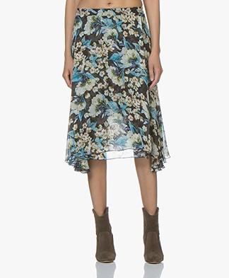 LaSalle Zijdemix Chiffon Skirt met Print - Navy