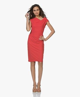 LaSalle Draped Travel Jersey Dress - Red