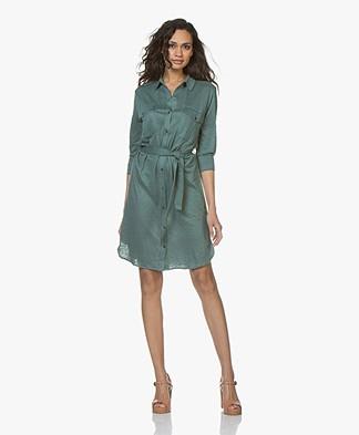 Majestic Filatures Jersey Linen Dress Shirt Dress - Tuscan Green