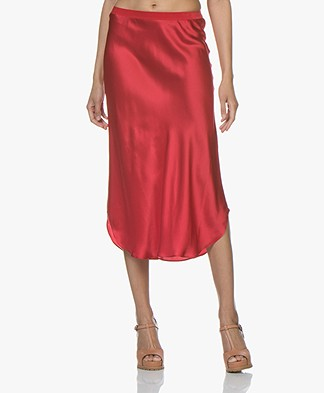 Mes Demoiselles Nami Silk Satin Midi Skirt - Red