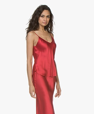 Mes Demoiselles Native Silk Satin Top - Red
