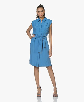 Drykorn Anike Viscose Pique Shirt Dress - Blue