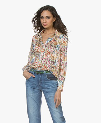 ba&sh Rive Satijnen Bloemenprint Blouse - Wit