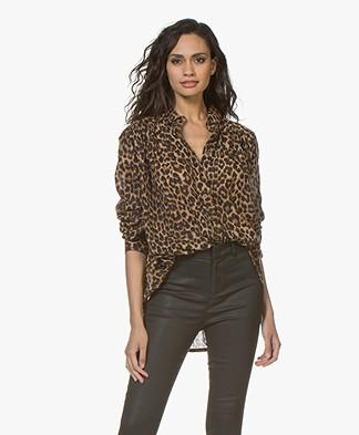 Mes Demoiselles Feline Voile Leopard Print Blouse - Brown
