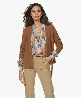 Sibin/Linnebjerg Milano Wool Blend Wrap Cardigan - Brown sugar