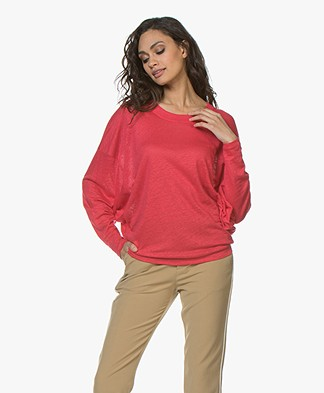 IRO Cheery Oversized Linen Long Sleeve - Red