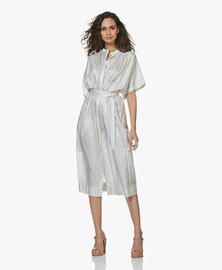 Joseph Jasper Blanket Striped Silk Shirt Dress - Ecru
