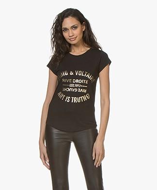 Zadig & Voltaire Skinny Blason Foil Print T-shirt - Black