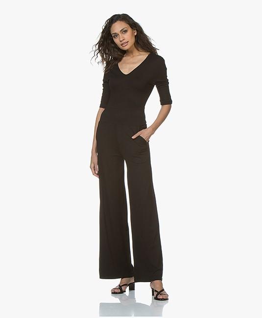 lasalle viscose blend jersey jumpsuit - black - br.08