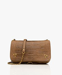 Jerome Dreyfuss Bobi Schouder/Cross-body Tas in Lamsleer - Croco Kaki