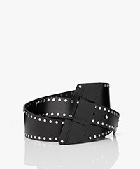 IRO Samo Studded Leather Waist Belt - Black